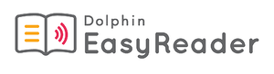 Dolphin EasyReader Logo: Graphic of an open book and the words 'Dolphin EasyReader'