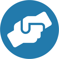 Icon shows white graphic of a handshake in a blue circle