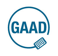 GAAD logo - the letters GAAD inside a circle which has a graphic of a computer keyboard on the lower right hand side.