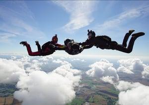 Image shows Karolina during a charity sky dive