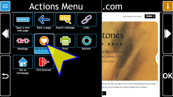 Actions Menu with Add to Favorites Selected