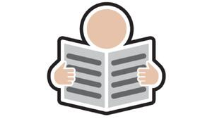 Doc Reader logo: Graphic of a person reading a document