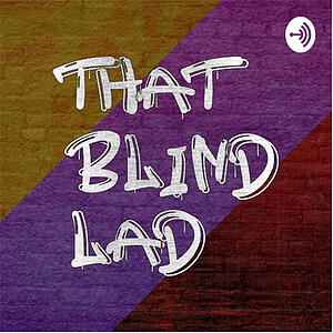 That Blind Lad Podcast Logo - A brick wall painted with diagonal stripes in yellow, purple and red, with the words 'That Blind Lad' in white spray grafitti