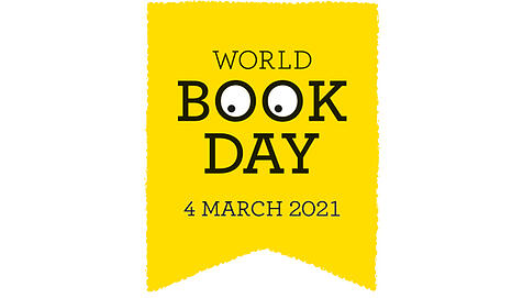 World Book Day logo - shows the words World Book Day 4 March 2021 in black on a yellow background. With the Os in book made to look like eyes