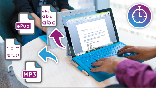 Hands typing a on a laptop that has a Word document open on the screen.  Illustrative arrows point to document icons.